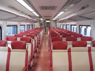 The interior of the new train cars.