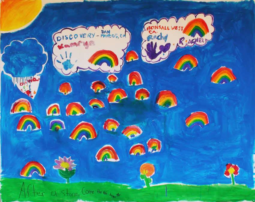 Kids rainbows mural for Children s mural artist