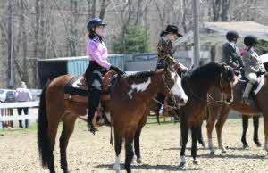Picture of Students on Horses During a Riding Lesson
