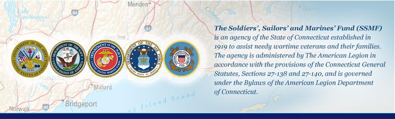 The Soldiers', Sailors' and Marines' Fund (SSMF) is an agency of the State of Connecticut established in 1919 to assist needy wartime veterans and their families.  The agency is administered by The American Legion in accordance with the provisions of the Connecticut General Statutes, Sections 27-138 and 27-140, and is governed under the Bylaws of the American Legion Department of Connecticut.